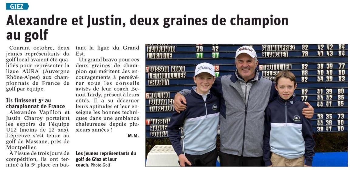 Graines de champion au golf giez 1