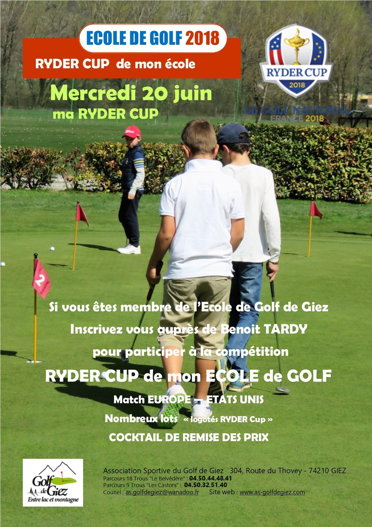 Ryder cup ecole de golf de giez 2018